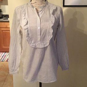 Striped Cotton Ruffle Neck Button Blouse XS